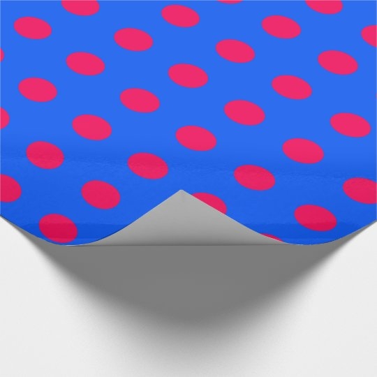 Have Fun Christmas Pink Polka Dots on Blue Wrapping Paper