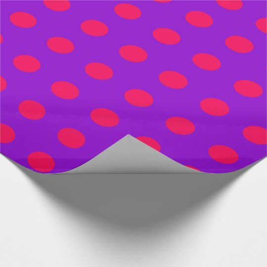 Have Fun Christmas Pink Polka Dots on Purple Wrapping Paper