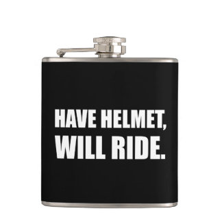 Have Helmet Will Ride White Hip Flask