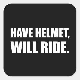 Have Helmet Will Ride White Square Sticker