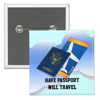 Have Passport, Will Travel 15 Cm Square Badge