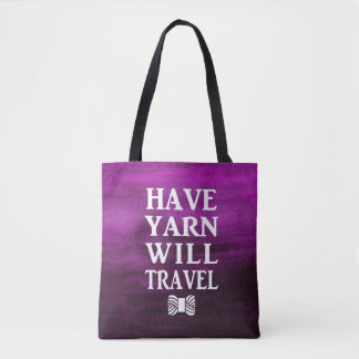 Have Yarn Will Travel • Purple Watercolor Texture Tote Bag