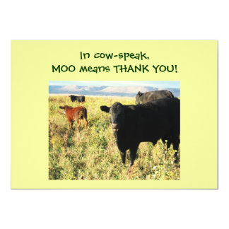 """Have You Herd? Calves - Western Thanks Baby Gift 4.5"""" X 6.25"""" Invitation Card"""