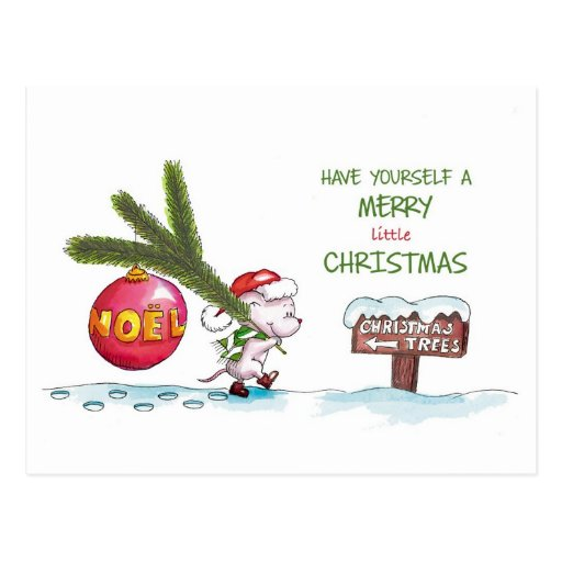 Have yourself a Merry little Christmas -Hand drawn Postcards