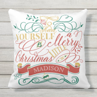 Have Yourself A Merry Little Christmas Typography Outdoor Cushion