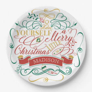 Have Yourself A Merry Little Christmas Typography Paper Plate