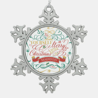 Have Yourself A Merry Little Christmas Typography Snowflake Pewter Christmas Ornament