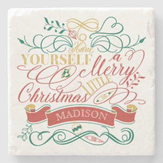 Have Yourself A Merry Little Christmas Typography Stone Coaster