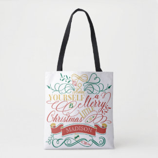 Have Yourself A Merry Little Christmas Typography Tote Bag