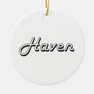 Haven Classic Retro Name Design Round Ceramic Ornament