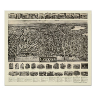 Haverhill, MA Panoramic Map - 1914 Poster
