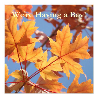 Having a Boy! invitations Baby Shower Autumn Leave