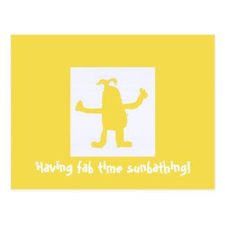 Having Fab Time Sunbathing Postcard