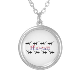 hawai geckos silver plated necklace