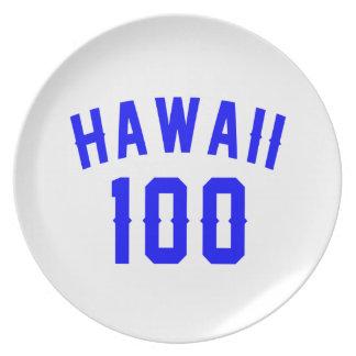 Hawaii 100 Birthday Designs Plate