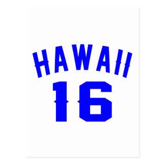 Hawaii 16 Birthday Designs Postcard