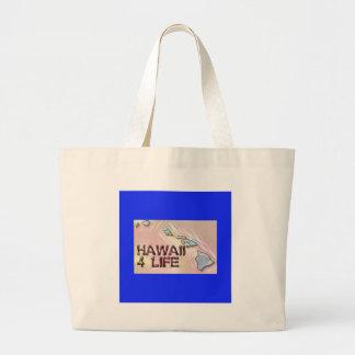 """""""Hawaii 4 Life"""" State Map Pride Design Large Tote Bag"""