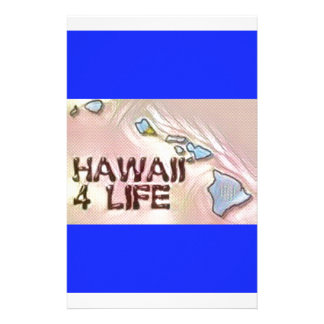 """""""Hawaii 4 Life"""" State Map Pride Design Personalized Stationery"""