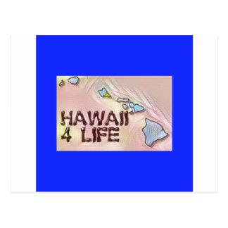 """Hawaii 4 Life"" State Map Pride Design Postcard"