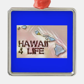 """Hawaii 4 Life"" State Map Pride Design Silver-Colored Square Decoration"