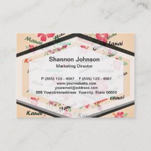 Hawaii business cards zazzle au hawaii aloha print with flowers and island names business card reheart Gallery