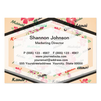 Hawaii Aloha Print with Flowers and Island Names Large Business Cards (Pack Of 100)