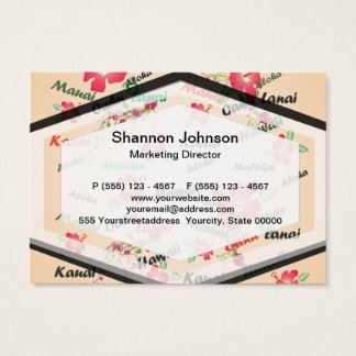 Hawaii Aloha Print with Flowers and Island Names Business Card