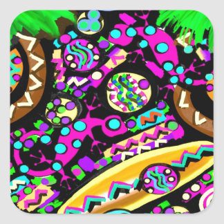 HAWAII  BEACH ART SQUARE STICKER