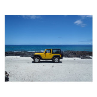 Hawaii beach scene jeep adventure postcard
