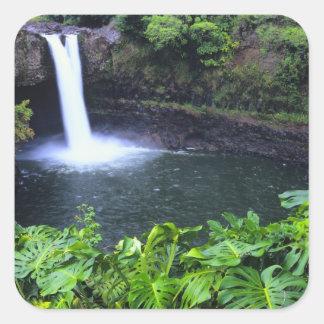 Hawaii, Big Island, Hilo, Rainbow Falls, Lush Square Sticker