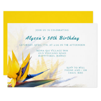 Hawaii Bird-of-Paradise Birthday Party Invitation