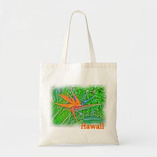 Hawaii bird paradise reusable bag