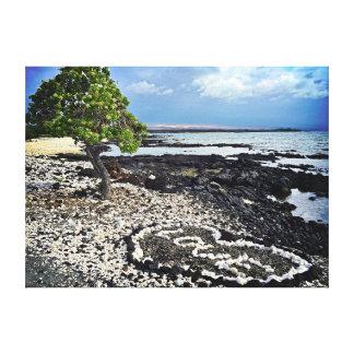 """Hawaii Black Sand Beach & Coral """"Love"""" Heart Photo Canvas Print"""
