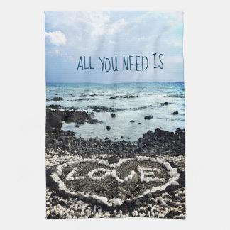 "Hawaii black sand beach & coral ""love"" heart photo tea towel"