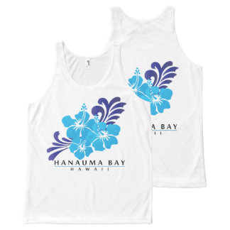 Hawaii Blue Hibiscus Flowers All-Over Print Singlet
