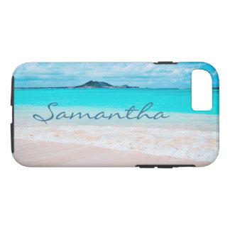 Hawaii blue ocean & sandy beach photo custom name iPhone 8/7 case