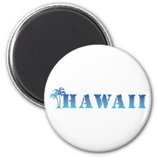 Hawaii blue palm trees 6 cm round magnet