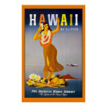 Hawaii by Clipper Vintage Travel Poster