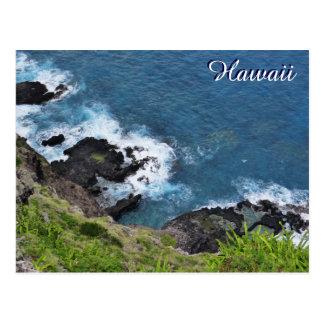 Hawaii Cliff Ocean Waves Scenic View Postcard