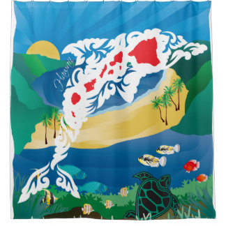 Hawaii Dolphins and Ocean 3 Shower Curtain