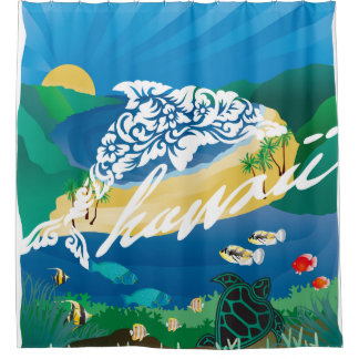 Hawaii Dolphins and Ocean 5 Shower Curtain