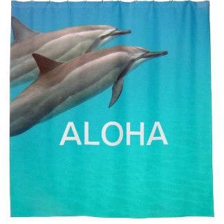 Hawaii Dolphins with Aloha Shower Curtain