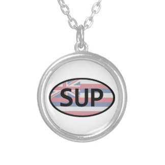 Hawaii Flag Standup Paddling Silver Plated Necklace