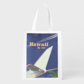 Hawaii Flight vintage vacation print Reusable Grocery Bag