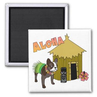 Hawaii French Bulldog Tiki Hula Magnets