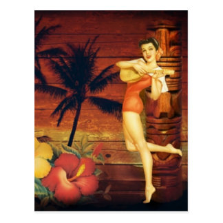 hawaii Girl Palm Tree totem pole Floral hibiscus Postcard