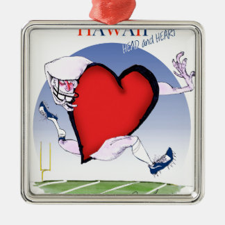 hawaii head heart, tony fernandes Silver-Colored square decoration