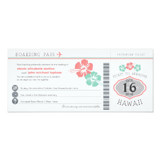 Hawaii Hibiscus Boarding Pass Wedding 10 Cm X 24 Cm Invitation Card