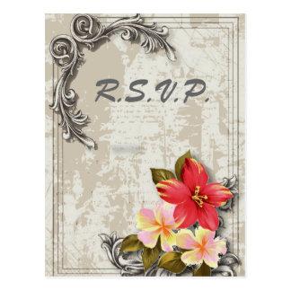 hawaii hibiscus floral tropical wedding rsvp postcard