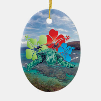 Hawaii Hibiscus Flowers and Turtle Ceramic Ornament